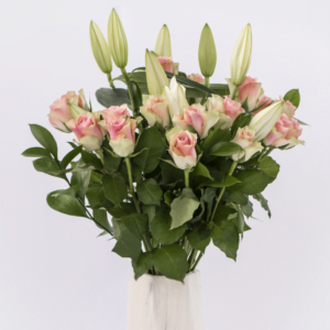 White Lily & Peach Roses