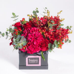 Red Hydrangea & Echeveria Box